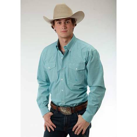Roper Mens Amarillo Mini Checks Two Pocket Long Sleeve Button Shirt - Teal Green
