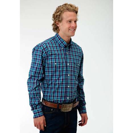 Roper Mens Amarillo Neat Check Long Sleeve Button Shirt