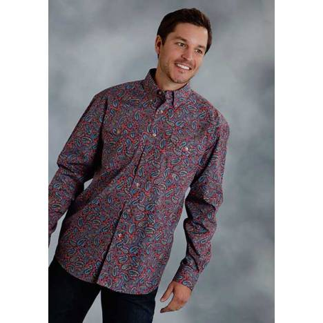 Roper Mens Amarillo Plaza Paisley Print Long Sleeve Button Shirt