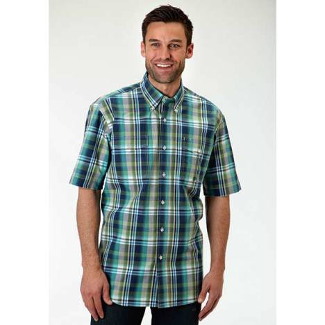 Roper Mens Amarillo Prairie Wind Water Check Plaid Short Sleeve Button Shirt