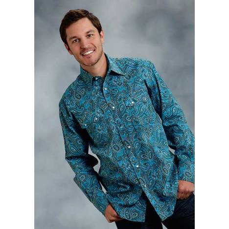 Roper Mens Amarillo Retro Paisley Long Sleeve Snap Shirt