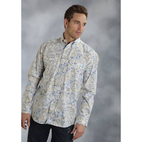 Roper Mens Amarillo Scatter Paisley Allover Print Long Sleeve Button Shirt