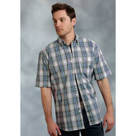 Roper Mens Amarillo Shawdow Plaid 2 Pocket Short Sleeve Button Shirt