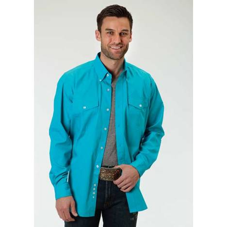 Roper Mens Amarillo Solid Poplin Long Sleeve Button Shirt - Turquoise
