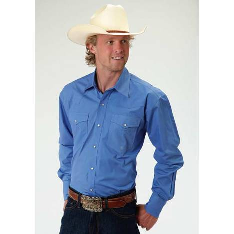Roper Mens Amarillo Solid Poplin Long Sleeve Snap Shirt - Blue