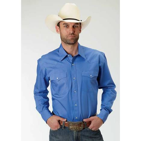 Roper Mens Amarillo Solid Poplin Long Sleeve Snap Shirt - Periwinkle