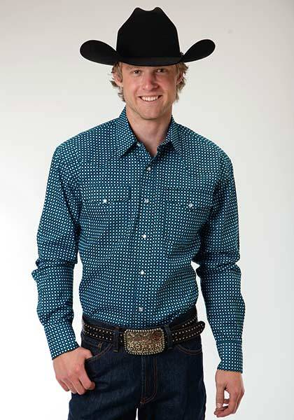 Roper Mens Amarillo Square Geo Long Sleeve Snap Shirt - Teal
