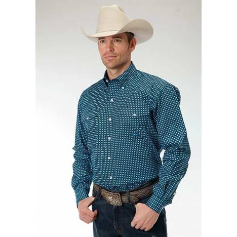 Roper Mens Amarillo Square Geo Print Long Sleeve Button Shirt - Teal