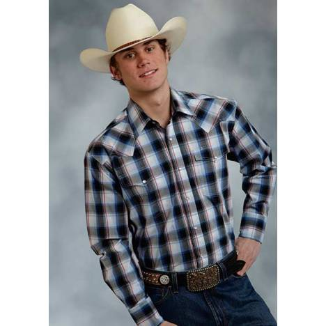 Roper Mens Amarillo Stone Plaid Long Sleeve Western Snap Shirt