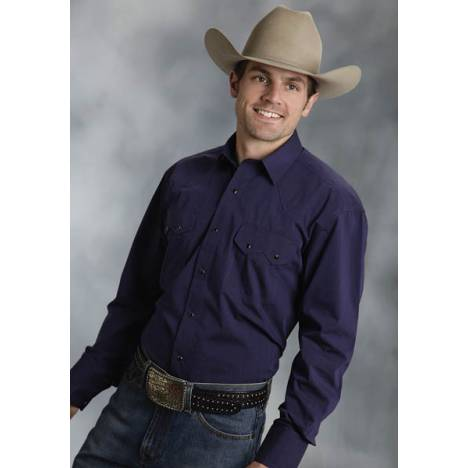 Roper Mens Tall Amarillo Black Fill Poplin Long Sleeve Snap Shirt - Purplesapph
