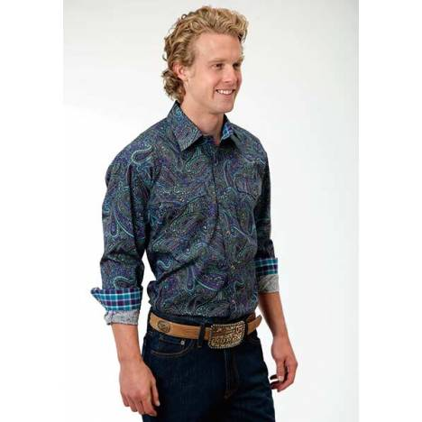 Roper Mens Tall Amarillo Crushed Paisley Long Sleeve Snap Shirt