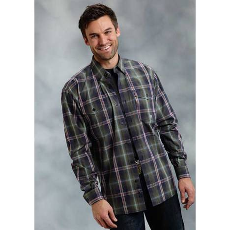 Roper Mens Tall Amarillo Firehouse Plaid Long Sleeve Button Shirt - Green