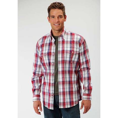 Roper Mens Tall Amarillo Marble Plaid Long Sleeve Button Shirt