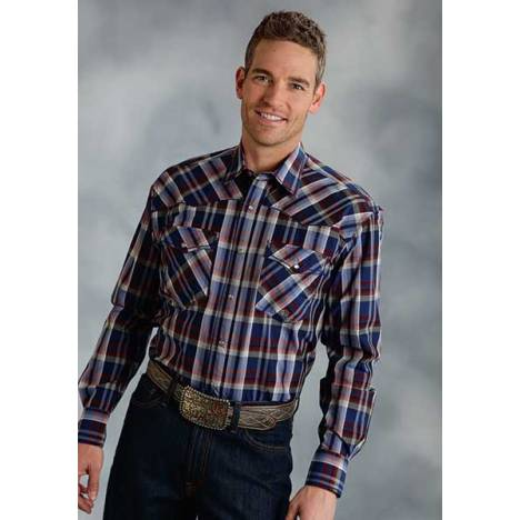 Roper Mens Tall Amarillo Sapphire Plaid Long Sleeve Snap Shirt