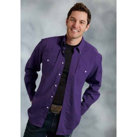 Roper Mens Tall Amarillo Solid Poplin Long Sleeve Button Shirt - Purple