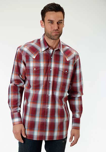 Roper Mens Tall Amarillo Vista Plaid Keystone Yoke Long Sleeve Snap Shirt