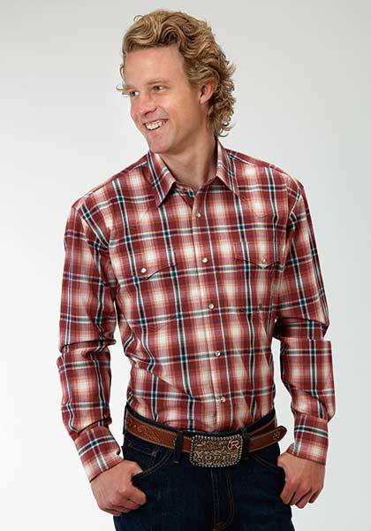 Roper Mens Tall Amarillo Wine Plaid Long Sleeve Snap Shirt - Red