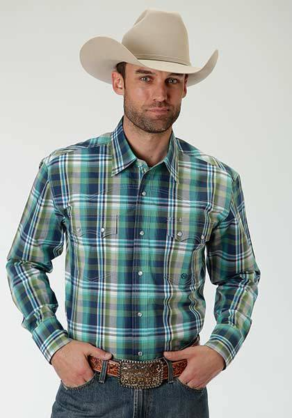 Roper Mens Amarillo Water Check Plaid Long Sleeve Western Snap Shirt
