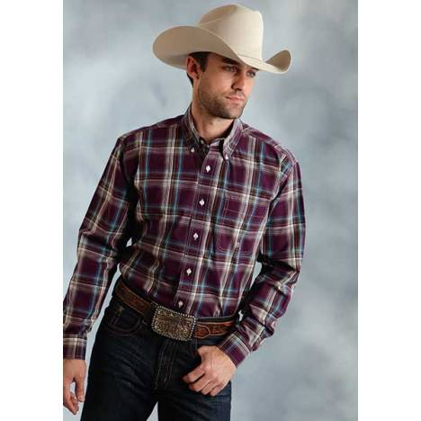 Roper Mens Amarillo Wine Country Plaid Open Pocket Long Sleeve Button Shirt
