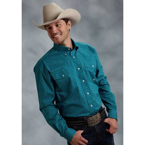 Roper Mens Amarillo Wine Country Print Long Sleeve Button Shirt - Blue