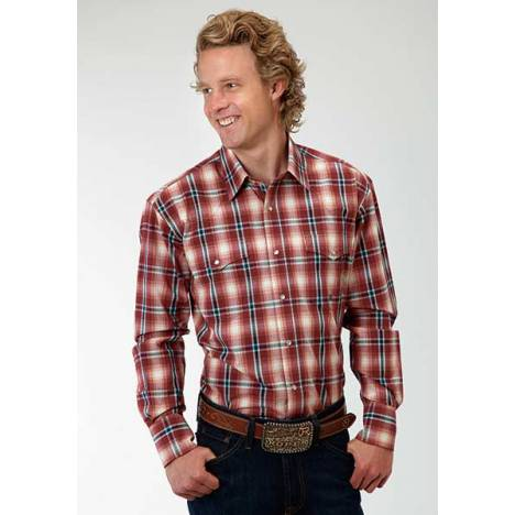 Roper Mens Amarillo Wine Plaid Western Long Sleeve Snap Shirt - Red