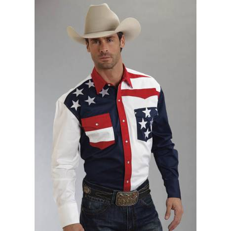 Roper Mens Americana Collection Colorblocked Flag Long Sleeve Snap Shirt