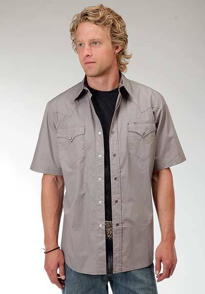 Roper Mens Performance Solid Poplin Western Short Sleeve Snap Shirt - Grey