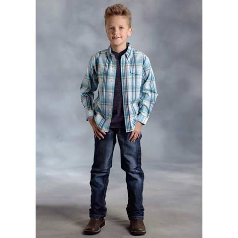 Roper Boys Agave Plaid Long Sleeve Button Shirt - Blue