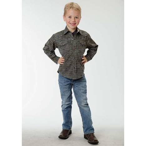 Roper Boys Aztec Geo Long Sleeve Pearl Snap Shirt