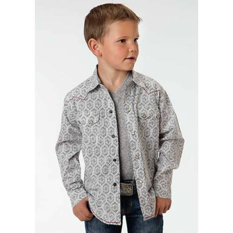 Roper Boys Aztec Stamps Long Sleeve Snap Shirt
