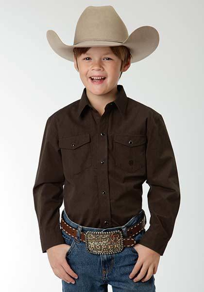 Roper Boys Black Fill Poplin Long Sleeve Snap Shirt - Brown
