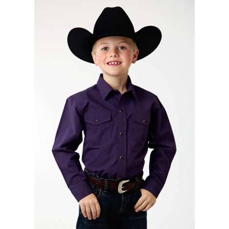 Roper Boys Black Fill Poplin Long Sleeve Snap Shirt - Purple