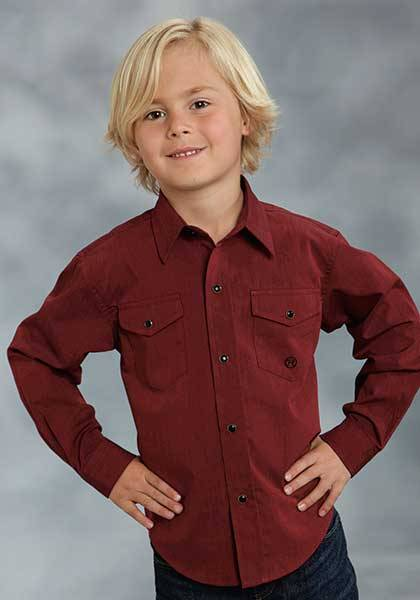 Roper Boys Black Fill Poplin Long Sleeve Snap Shirt - Red