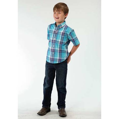 Roper Boys Blue River Plaid Short Sleeve Button Shirt