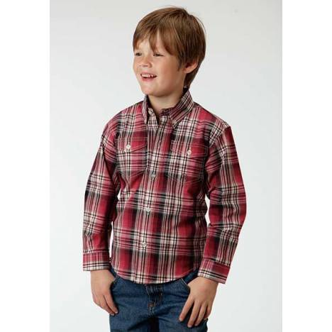 Roper Boys Brick Plaid Long Sleeve Button Shirt