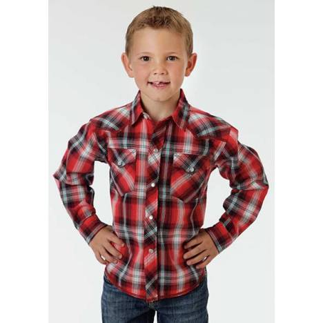 Roper Boys Chili Plaid Long Sleeve Performance Snap Shirt