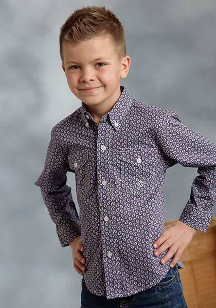 Roper Boys Cloud Paisley Long Sleeve Button Shirt