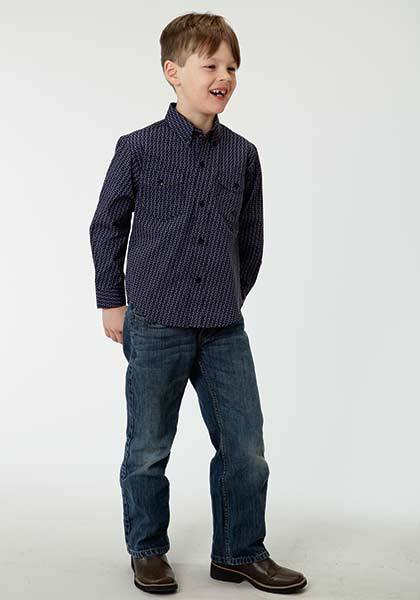 Roper Boys Cruller Foulard Long Sleeve Snap Shirt - Black Purple