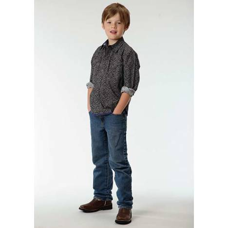 Roper Boys Dots And Dashes Print Long Sleeve Pearl Snap Shirt