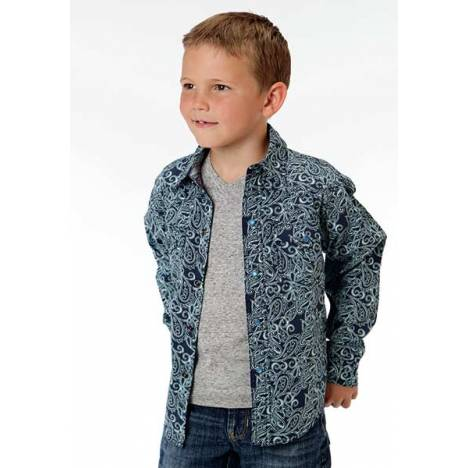 Roper Boys Eddy Paisley Long Sleeve Pearl Snap Shirt