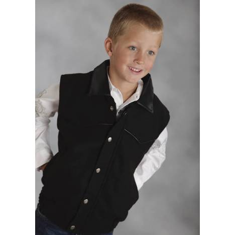 Roper Boys Faux Leather Accent Wool Vest - Black