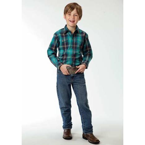 Roper Boys Firehouse Plaid Long Sleeve Snap Shirt