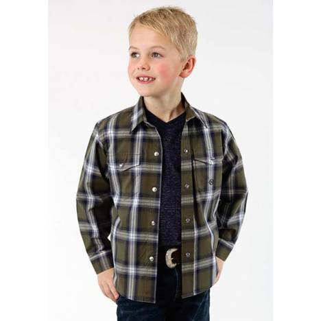 Roper Boys Green River Long Sleeve Snap Shirt - Brown