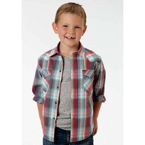 Roper Boys Hard Rock Ombre Long Sleeve Western Snap Shirt