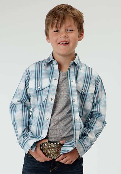 Roper Boys High Wire Plaid Long Sleeve Snap Front Shirt