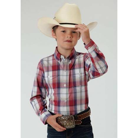 Roper Boys Marble Plaid Long Sleeve Button Shirt