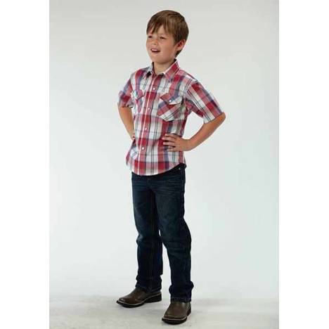 Roper Boys Marble Plaid Short Sleeve Snap Shirt