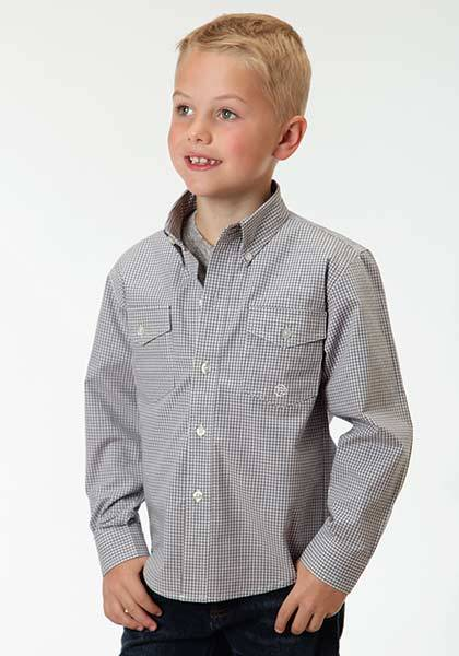 Roper Boys Mini Checks Long Sleeve Button Shirt - Grey