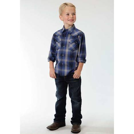 Roper Boys Moto Plaid Long Sleeve Pewter Ring Snap Shirt