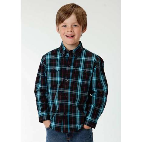Roper Boys Onyx Check Plaid Long Sleeve Button Shirt